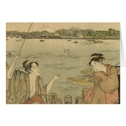 Impresión pesquera japonesa de Woodblock del vinta Tarjeta De Felicitación