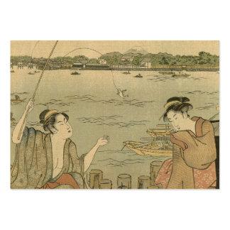 Impresión pesquera japonesa de Woodblock del vinta Plantilla De Tarjeta Personal