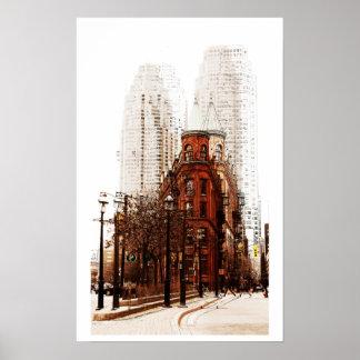 Impresión plana del edificio del hierro de Toronto Posters