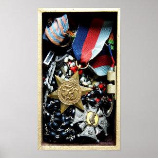 Impresión polaca de las medallas del veterano poster
