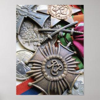 Impresión polaca de las medallas posters