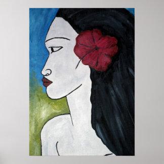 Impresión polinesia de la mujer póster