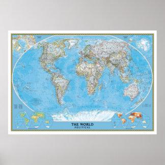 Impresión política del poster del mapa del mundo