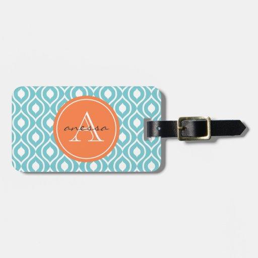 Impresión poner crema azul y anaranjada costera de etiqueta de maleta
