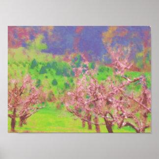 Impresión poster de los árboles de melocotón