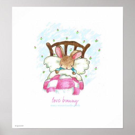 impresión/poster del conejito del amor póster