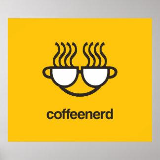 Impresión/poster del empollón del café póster