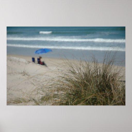 Impresión/poster - señora en la playa póster