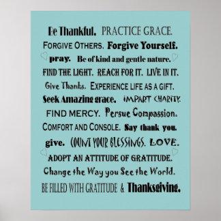 impresión practicante del arte de la gratitud posters