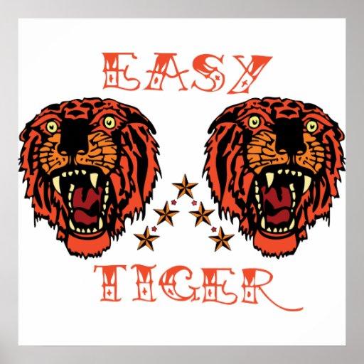 Impresión punky del tatuaje fácil del tigre posters