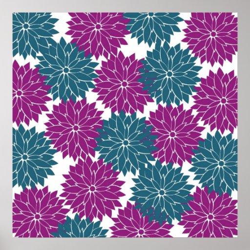 Impresión púrpura bonita de los flores de la flor  póster