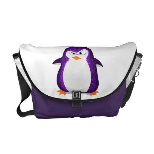 Impresión púrpura de la foto del brillo del pingüi bolsas de mensajeria