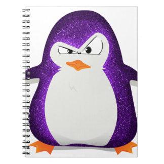 Impresión púrpura de la foto del brillo del pingüi libro de apuntes con espiral