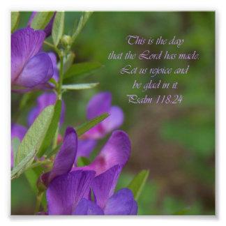 Impresión púrpura de la foto del verso de la bibli fotografías