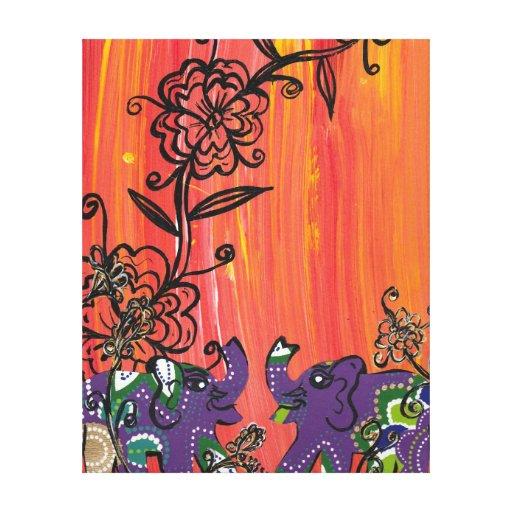 Impresión púrpura de la lona de los elefantes impresiones en lona