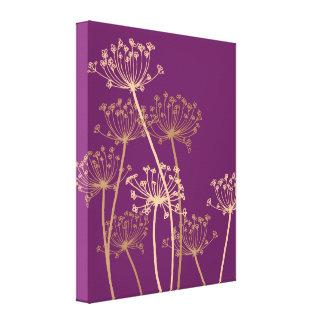 Impresión púrpura de la lona del perifollo moderno lona envuelta para galerías