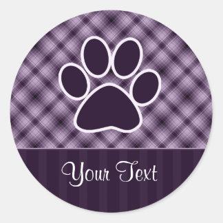 Impresión púrpura de la pata etiquetas