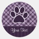 Impresión púrpura de la pata etiquetas redondas