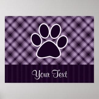 Impresión púrpura de la pata poster