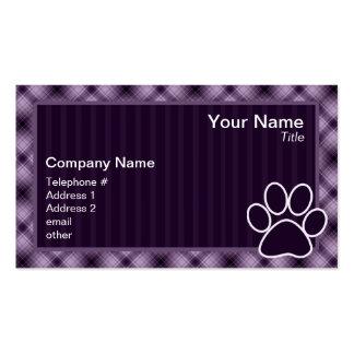 Impresión púrpura de la pata tarjeta de negocio