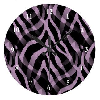 Impresión púrpura de las rayas de la cebra de la reloj redondo grande