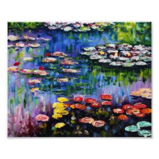 Impresión púrpura de los lirios de agua de Monet Fotografía