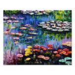 Impresión púrpura de los lirios de agua de Monet Impresion Fotografica