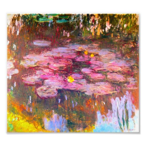 Impresión púrpura de los lirios de agua de Monet Fotografías