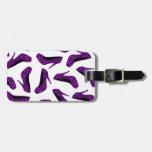 Impresión púrpura de los tacones altos del leopard etiquetas maletas