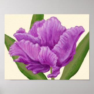 Impresión púrpura del arte del tulipán del loro póster