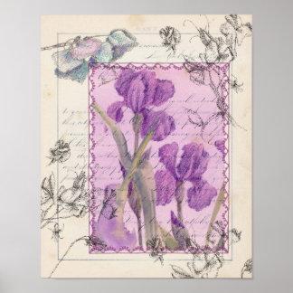 Impresión púrpura del collage del guisante de olor póster