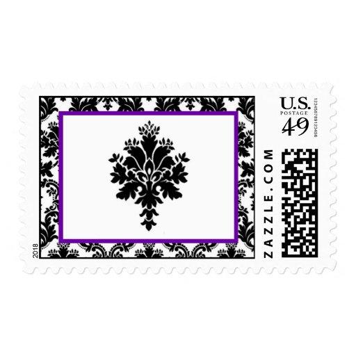 Impresión púrpura del cordón del damasco del negro estampillas