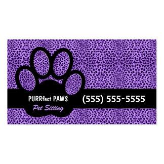 Impresión púrpura del guepardo con el canguro de tarjetas de visita