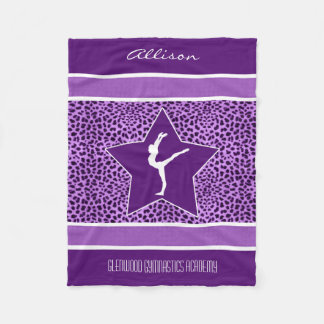 Impresión púrpura del guepardo de la gimnasia con manta de forro polar
