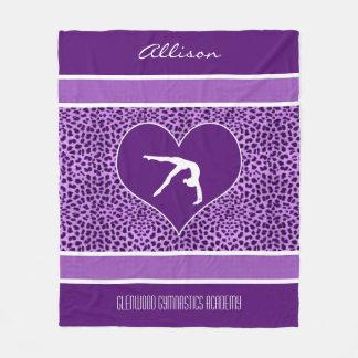 Impresión púrpura del guepardo de la gimnasia con manta polar