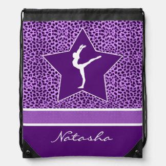 Impresión púrpura del guepardo de la gimnasia con mochila
