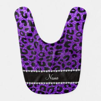 Impresión púrpura del guepardo del brillo del añil babero para bebé