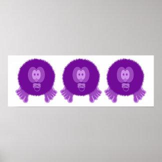 Impresión púrpura del poster de los bebés de Pom P