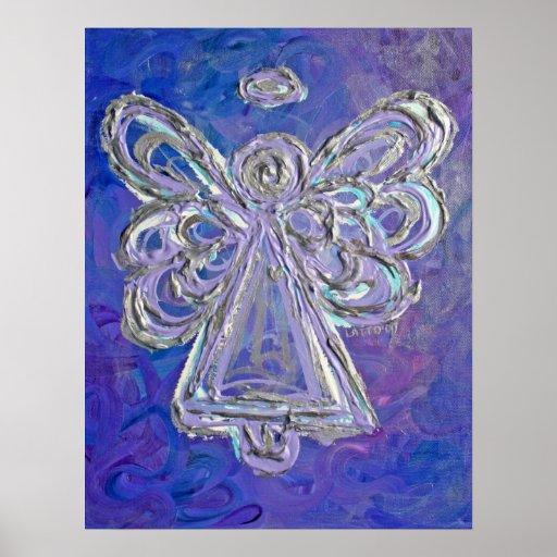 Impresión púrpura del poster del arte del ángel