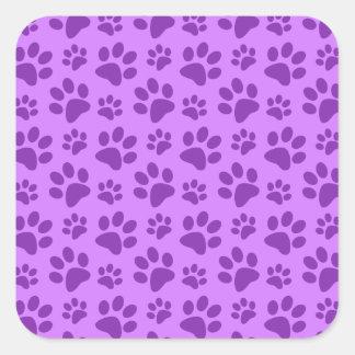 Impresión púrpura en colores pastel de la pata del colcomania cuadrada