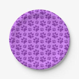 Impresión púrpura en colores pastel de la pata del platos de papel