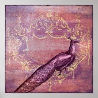 Impresión púrpura francesa rococó del pavo real