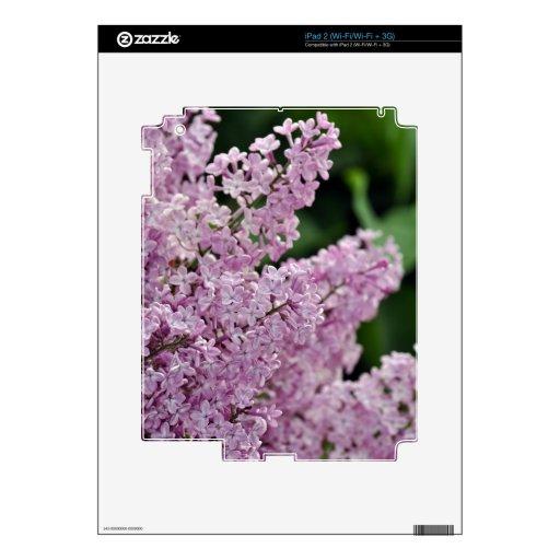 Impresión púrpura hermosa de las flores de la lila calcomanía para el iPad 2