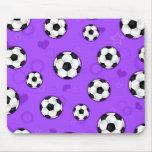 Impresión púrpura linda de la estrella de fútbol tapetes de raton
