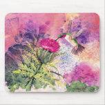 Impresión púrpura Mousepad del arte del cardo del  Alfombrilla De Ratón
