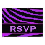 Impresión púrpura y negra RSVP del tigre que casa Invitaciones Personales