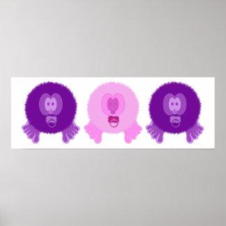 Impresión púrpura y rosada del poster de los bebés