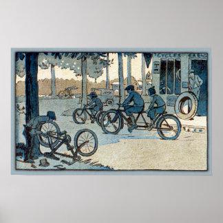 Impresión que monta en bicicleta del vintage
