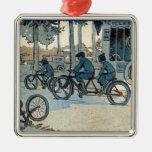 Impresión que monta en bicicleta del vintage ornamento para reyes magos