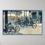Impresión que monta en bicicleta del vintage posters